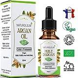 HUILE D'ARGAN 100% BIO Pure et Naturelle, pressée à froid - Extra-vierge - Soin hydratant pour Cheveux, Corp et visage (50ml)