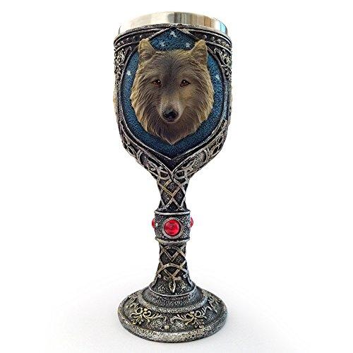 Homiki 3D Design Wolf Kopf Goblet Harz Rostfreier Stahl Wolfkönig Weinglas Tasse Geschenk Silver