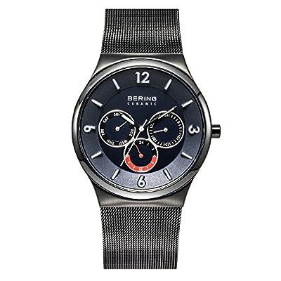 Bering Ceramic - Reloj de cuarzo para hombre, con correa de acero inoxidable, color negro de Bering