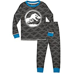 Jurassic World Pijama para Niños - Brilla en la Oscuridad - Gris - 9 a 10 Años