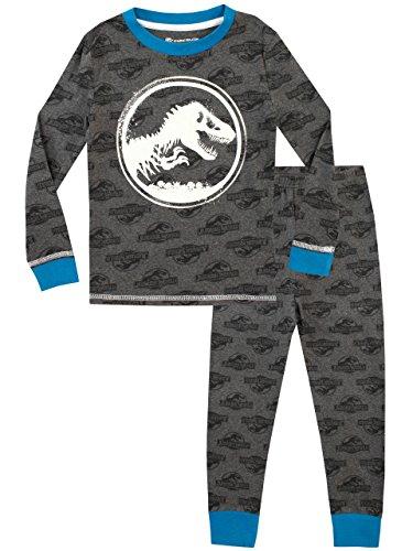 Hasbro jurassic world - pigiama a maniche lunga per ragazzi - si illuminano al buio - vestibilitta stretta - grigio - 6-7 anni