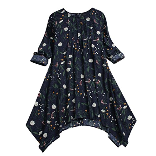 Sale Clearance Women's Blouse Sunday77 Tops Daily Plus Size Cotton Vintage Floral Print Folded Irregular Full Sleeve T Shirts Casual Shirt Ladies