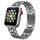 Apple Watch Armband,PUGO TOP Solides Edelstahl Cowboy Art Gliederarmband für Apple Watch Series 3...