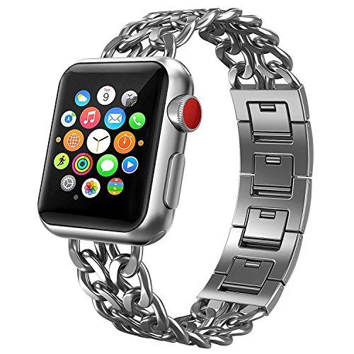 Nike Plus Watch (Apple Watch Armband, PUGO TOP Solides Edelstahl Cowboy Art Gliederarmband für Apple Watch Series 3 Serie 2 und Serie 1 Alle Modelle, 38mm Silber)