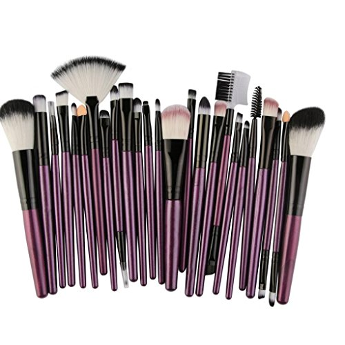 ESAILQ 25PCS Pinceau de maquillage Professionnel Teint Eyebrow Shadow Makeup Blush Kit Pinceau Ensemble brosse à maquillage Brosse à maquillage Maquillage Outils (Violet)