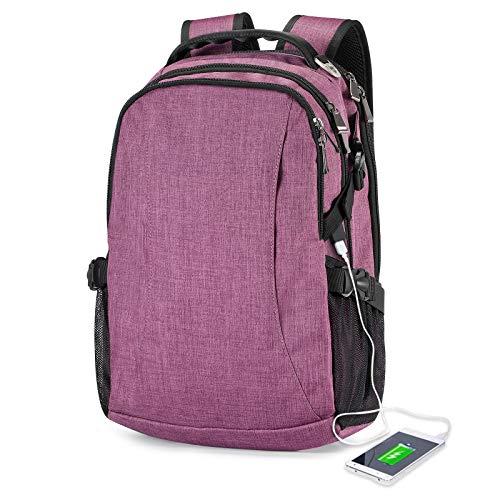 Schulrucksack für Damen and Mädchen,Laptop Rucksack mit 14 Zoll Laptopfach für Schule Arbeit Reisen Casual Rucksack USB-Ladeanschluss-Lila