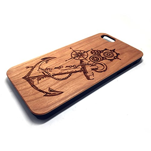 Apple 5/5S/SE Case,iPhone 5/5S/SE Custodia, Custodia in Natura Legno con Copertura Difficile di PC Case Cover per Apple iPhone 5/5S/SE(4.0 Pollici)(flower) Cherry Anchor