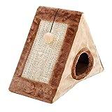 POPETPOP Cat Scratching Post Clawing Board Triangolo Imbottito Gattino Letto con Rampe ad Angolo graffiato (Marrone)