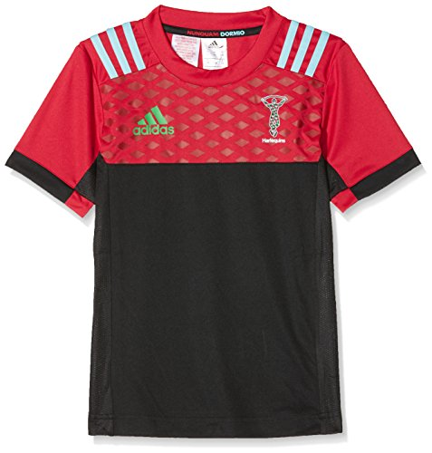 adidas Kinder Performance Tee Harlequins Trikot, Black/Redbea/White, 164 (American Kinder Apparel T-shirt)