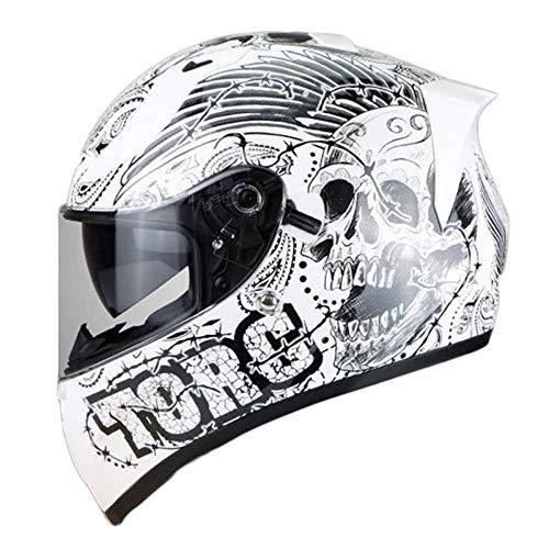 Preisvergleich Produktbild LVLUOYE Motorradhelm Integralhelm Bluetooth-Headset Doppel-Anti-Fog-Offroad-Helm weiß grün Staub Offroad-Rennen Kreuzer-White,  XL