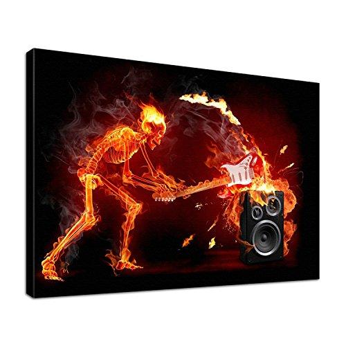 Leinwandbild Burn Skelett und Gitarre vs. Lautsprecher in Flamme Größe 100 x 80 cm