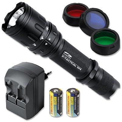LiteXpress Set: X-Tactical 104 LED-Taschenlampe mit 190 Lumen inkl. Ladegerät mit 2 Stück RCR123 A Akkus, SET-KOMBI06 von LiteXpress bei Lampenhans.de