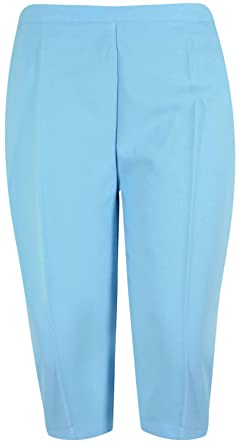 New Ladies Plus Size Three Quarter Cropped Trousers Elasticated ...