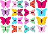 Essbare Kuchendekorationen- 12 bunte Schmetterlinge: gemischte Farben / 12 Gorgeous Edible Bright Butterflies: Mixed Col