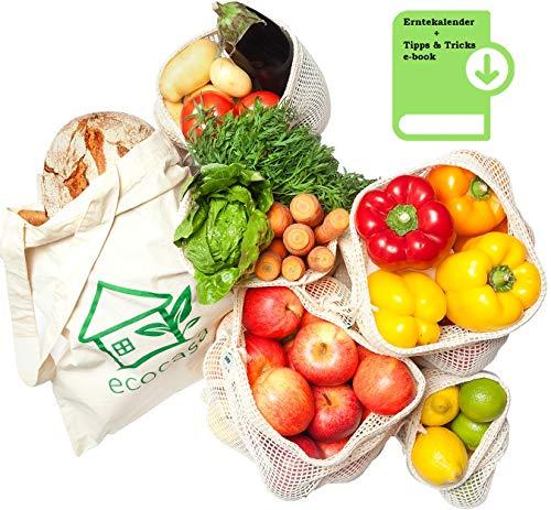 Obst- und Gemüsebeutel Einkaufstaschen mit Brotbeutel aus Baumwolle – plastikfrei - wiederverwendbar - Shopper Netz 6er SET aus 1x S, 2x M, 2x L, 1x Stoffbeutel | INKLUSIVE Erntekalender + Tipps ebook