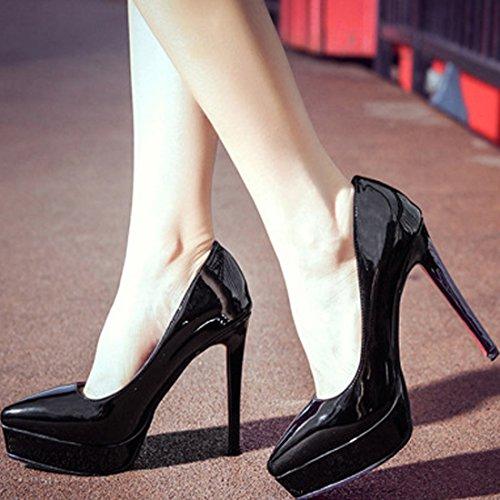 Oasap Femme Chaussure A Talons Hauts Plate-forme PU Cuir Pointu Talons Aiguilles Noir