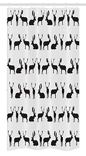 Yeuss Deer Stall Duschvorhang von, Damhirsch Sitzplätze Stehen Walking stellt Schatten Silhouette Muster Jagd, Stoff Badezimmer Dekor Set mit Haken, Kohle hellgrau