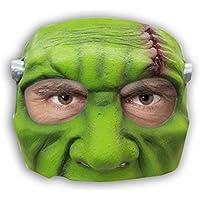 AEC–MAHAL610–Media careta de monstruo verde, látex, adulto