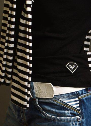 Neu Herren T-Shirt Dekorative Streifen Muster klassischen Schnitt Partei Lässig Schwarz