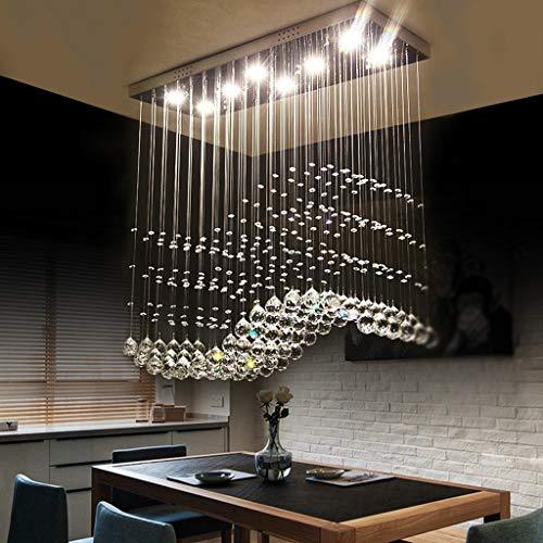 Lampadario moderno chiaro K9 rettangolare Crystal Chandelier luce da soffitto lampadario di cristallo illuminazione per soggiorno (Dimensione : 80 * 20 * 80cm)