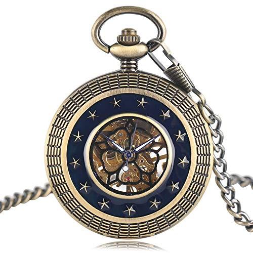 XY&DQ Taschenuhr Retro Geschenk Steampunk Taschenuhr Trendy mechanische Handaufzug Kupfer Vintage Fob Cool Chain Exquisite Männer Windup Women-in Pocket & Fob Uhren von Uhren, Bronze (Wind Up Pocket Watch Mit Kette)