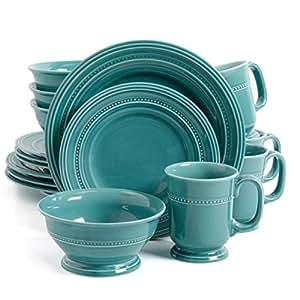 Gibson Elite Barberware 16 Piece Dinnerware Set, Turquoise