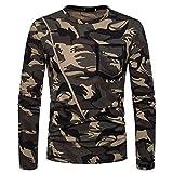 Btruely Herren Sweatshirt Camouflage Winter Vintage Zipper Pullover Männer Sweatjacke Rundhals Hemden Langarm T-Shirt