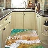 Kicode PVC Meer Strand Boden Aufkleber Wandtapeten Vivid Schöne Sandwellen Surf Scenery Art Badezimmer Wohnzimmer Dekoration