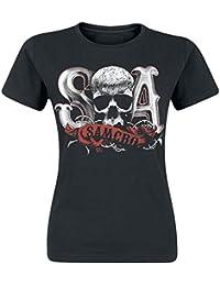 Sons of Anarchy SAMCRO Skull officiel Femme nouveau Noir Skinny Fit T Shirt