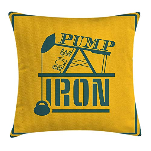 Fitness Throw Pillow Cushion Cover, Pump Some Iron Quote in Vintage Frame Oil Pump Power Lifting Weight Icons, Decorative Square Accent Pillow Case, 18 X 18 Inches, Petrol Blue Marigold