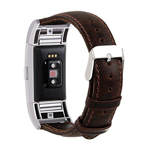 Armband für Fitbit Charge 2, MroTech Fitbit Charge2 Lederarmband Echtes Leder Erstatzband Uhrenarmbänder Unisex Fitness Armband für Fitbit Charge 2 Smartwatch (coffee, groß)