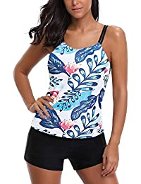 0e32841637876 AYEEBOOY Women's Plus Size Floral Halter Tankini Set with Boyshort High  Waist Swimsuit Bikini