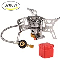 Camping Gas Stove Portable 3700W Big Power Windproof Camp Stoves Foldable with Convenient Piezo Ignition,Durable Split Furnace Stove with Carrying Case for Outdoor Cooking,Camping,Backpacking-Silver
