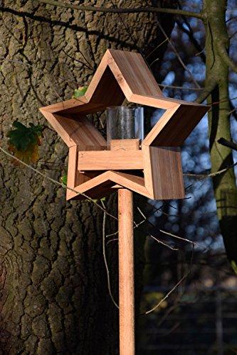 Luxus-Vogelhaus 85075e Stern Design, Ständer aus geöltem Eichenholz, Holz mit Silo, 30 x 14 x 152 cm - 8