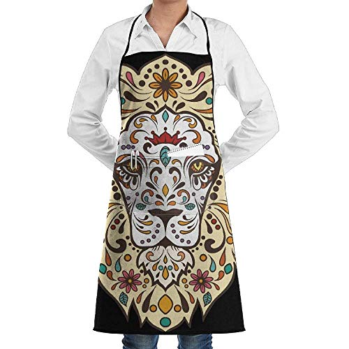 tgyew Floral Tribal Lion Head Unisex Chef's Apron Deluxe Personalities Aprons Deluxe Lion Head