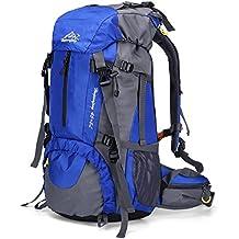 Trekkingrucksäcke, QHUI Wasserdichter Rucksack mit 45L + 5L Fassungsvermögen aus Nylon Großer Wanderrucksack mit Regenschutzhülle Perfekt zum Wandern Bergsteigen Reisen, Sport und Camping