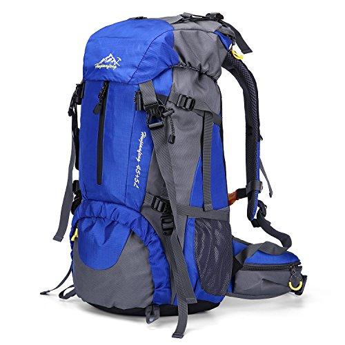 QHUI Wasserdichter Rucksack mit 45L + 5L Fassungsverm?gen aus Nylon Gro?er Trekkingrucksack mit Regenschutzhülle perfekt zum Wandern Bergsteigen Reisen und für Sport und Camping (Blau)