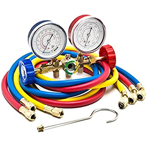 Latinaric Manifold Gauge Kit Manometro Tubi R12 R22 R502 AC Refrigerante