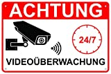 Schild Videoüberwachung 30x20cm Aluminium Videoüberwachter Bereich Hinweisschild Warnschild Eckbohrungen Wetterfest