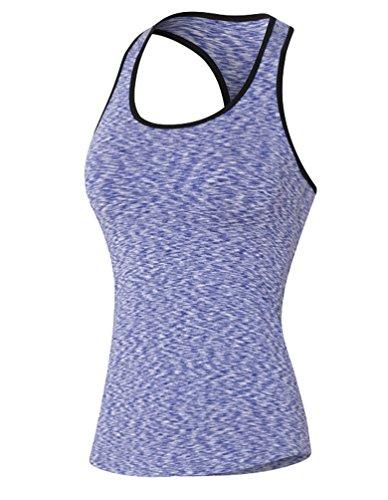ZKOO Femme Débardeur de Compression Sans Manches T-shirt de Sport Dos Nageur Pour Running Fitness Violet L