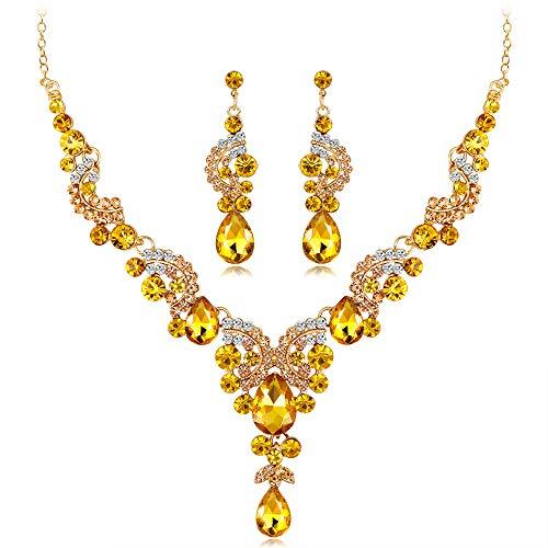 Yazilind Frau Zirkonia Elegante Floral Foliage Stem Drop Halskette Ohrringe Anhänger Hochzeit Parure (Gelb)