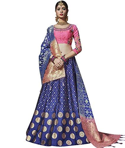 Indian Ethnicwear Bollywood Pakistani Wedding Blue A-Line Lehenga Semi-stitched