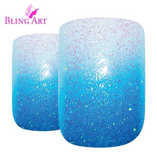 Falsche Nägel Bling Art Blau Gel Ombre Französisch -