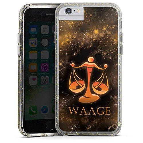 Apple iPhone 8 Bumper Hülle Bumper Case Glitzer Hülle Balance Waage Sternzeichen Bumper Case Glitzer gold