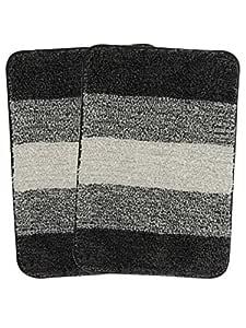 Saral Home Black Soft Microfiber Anti-Skid Bath Mat (Pack of 2, 35x50 cm)