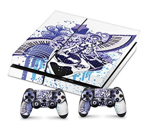 Design Aufkleber Skin Schutzfolie kompatibel mit Playstation 4 PS4 + 2 Controller Skins DJ