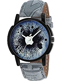Satva-The Brand Grey Leather Strap Black Dial Apple Printed Analog Wrist Watch For Men