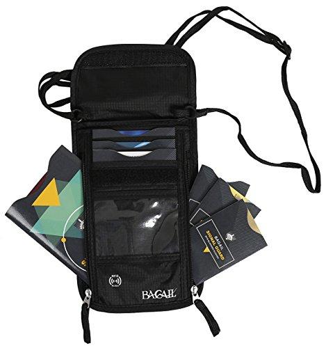 Ausschnitt Brieftasche RFID Blockierung Pass Packet Sicherheit Reise GeldbörseSchwarz Schwarz - Hals Rfid-reise-geldbörse