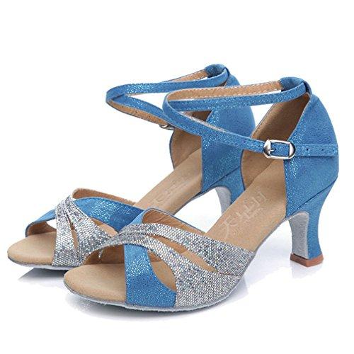Xianshu Mujeres Latín Baile Zapatos Cross Correa Tobillo Hebilla Lentejuelas Pescado Boca Sandalias Medio Talón Zapatillas (Azul eléctrico-40 EU)