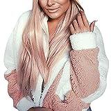 TEBAISE Damen Mantel Plüsch Jacke Revers Faux Wolle Warm Winter Outwear Stylische Übergroße Coat mit Taschen Herbst Winterjacke Mäntel Pullover